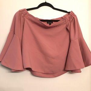 TopShop Pink Nude Off Shoulder Blouse size 4
